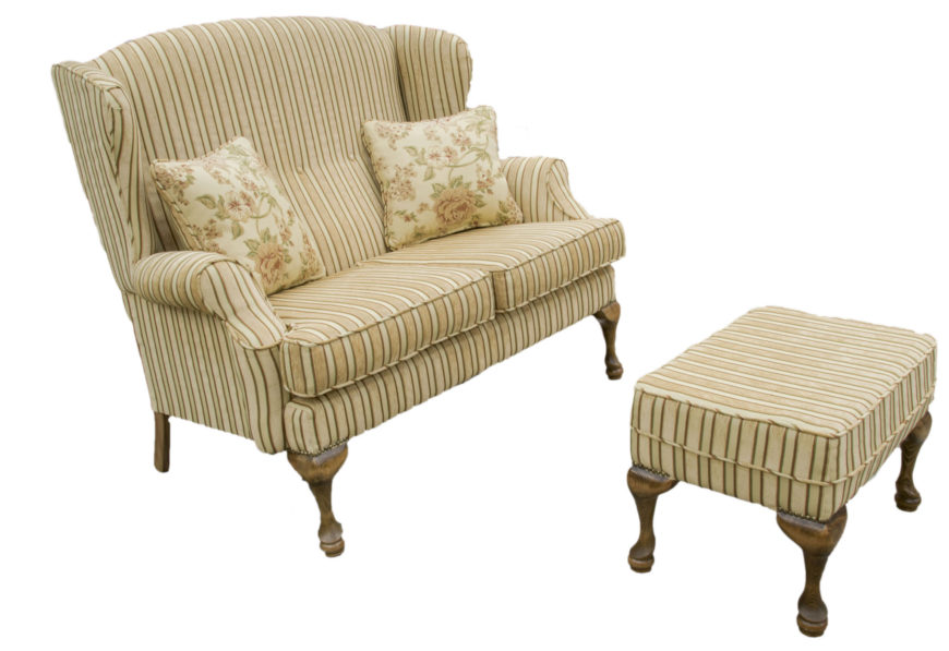 Queen anne 2 seater and footstool - Special Offer handmade furniture